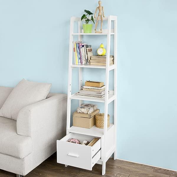 Haotian White Modern Ladder Bookcase Made Of Wood Book Shelf Stand Shelf Wall Shelf FRG116 K W