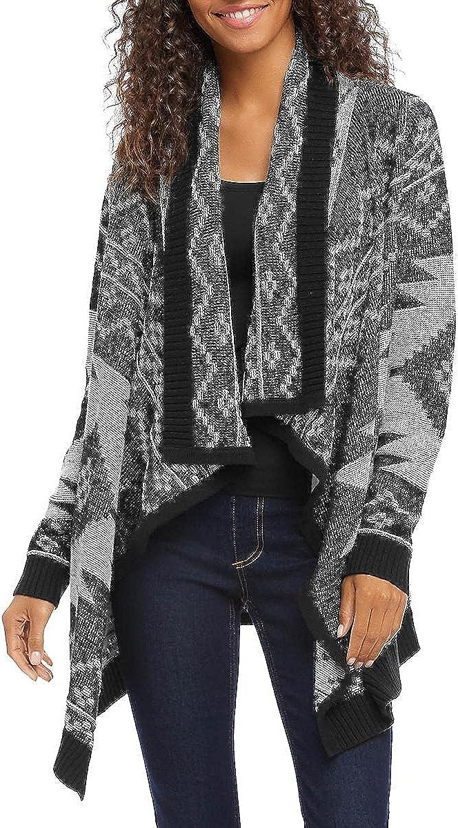 Karen Kane Womens Printed Open-Front Cardigan Sweater