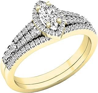 0.55 Carat (ctw) 10K Gold Marquise & Round White Diamond Bridal Wedding Ring Set 1/2 CT