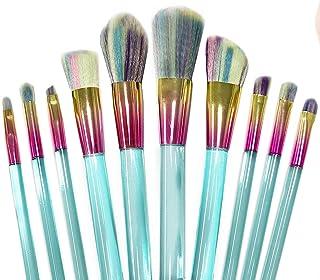 Professional makeup brush kit- 10 brushes. Soft bristles. Makeup brushes for powder, contour, blush, concealer, eye shadow, eye contour, brow, lip and more.