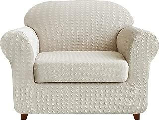 subrtex 2-Piece High Stretch Slipcovers Durable Soft Jacquard Fabric, Machine Washable Sofa Covers (Chair, Cream Print)