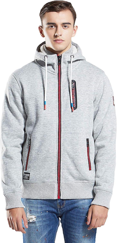 Extreme Pop Mens Anti-Pilling Slub Baumwolle Knit Bonded Jacken Hoodie Sweatshirt (M, Grau)