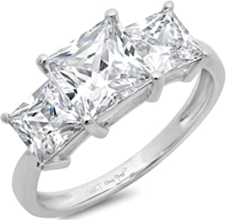 Clara Pucci 2.9 CT Three Stone Princess Cut Solitaire Ring Anniversary Promise Engagement Wedding Band 14K White Gold