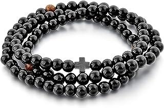Christian Prayer Beads Rope Bracelet – 100 Black + 3 Wooden Beads & Cross – Women Men Children – 6 MM Black Glass 100