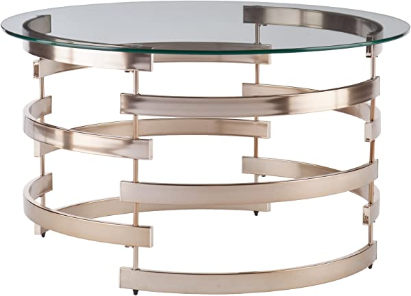 Belmar Cocktail Table Round Tempered Glass Top W Champagne Metal Frame Glam Style