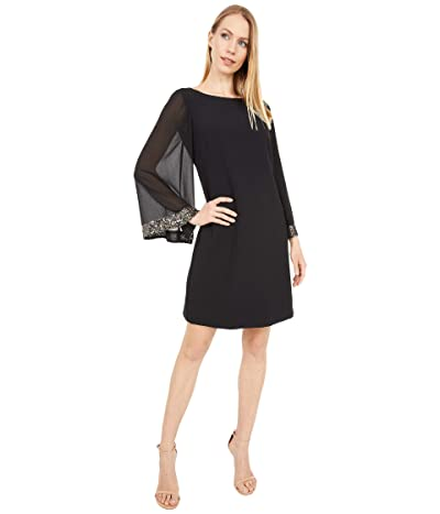 Vince Camuto Crepe Shift Dress with Chiffon Sleeves (Black/Gold) Women