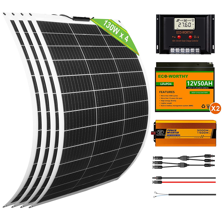 ECO-WORTHY Kit completo de panel solar flexible de 520 W 24 V, 4 módulos solares de 130 W + 2 Batería de Litio de 50 Ah + inversor de 1500 W + regulador de carga de 60 A para caravanas, furgonetas