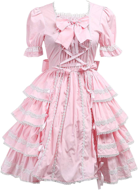 Antaina Pink Cotton Bows Ruffle Lace Sweet Retro Victorian Lolita Cosplay Dress