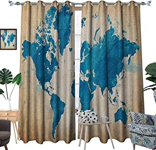 Map Window Curtain Drape Artistic Vintage World Map with Watercolor Brushstrokes on Old Backdrop Print Decorative Curtains for Living Room W72 x L96 Navy Blue Sand Brown