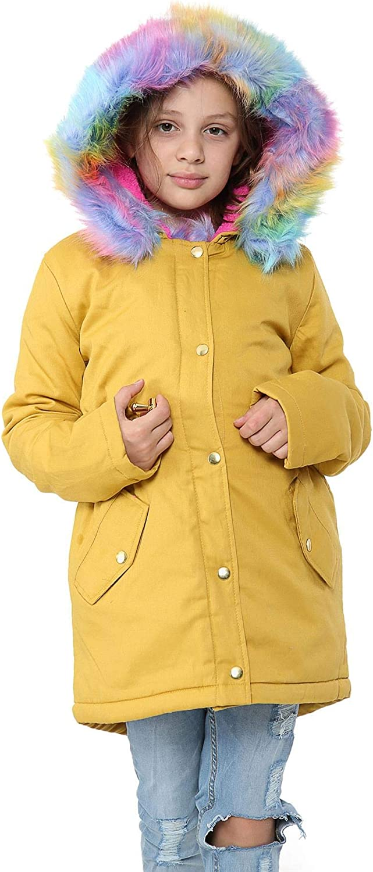 Kids Hooded Jacket Girls Rainbow Fur Mustard Parka School Jackets Outwear Coat7-13