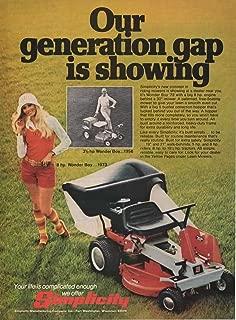 Vintage Magazine Print Ad: 1973 Simplicity 3 1/2 hp and 8 hp Wonder Boy Riding Lawn Mower,