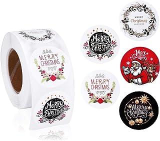 Mogokoyo 500 pz Merry Christmas Stickers etichetta autoadesiva rotonda da 3,8 cm