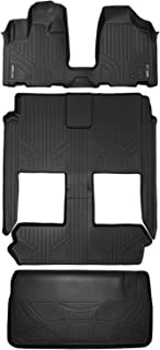 MAXLINER Floor Mats 3 Rows and Cargo Liner Behind 3rd Row Set Black for 2008-2018 Dodge Caravan / Chrysler Town & Country (Stow'n Go Only)