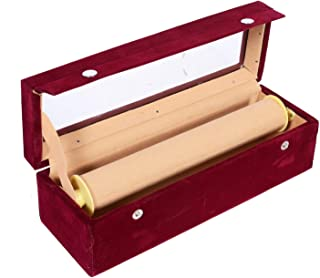 Kuber Industries Wooden 1 Piece One Rod Transparent Velvet Bangle Storage Box, Maroon - CTKTC022788, Pack of 1
