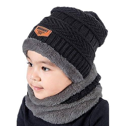 ee18311e3329 Supstar Enfants Bonnet Tricoté Hiver Chaud Chapeau Écharpe 2Pcs Épais Tour  De Cou avec Double Polaire