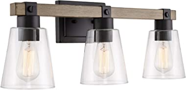 "Kira Home Asher 23"" 3-Light Farmhouse Vanity/Bathroom Light + Funnel Glass Shades, Smoked Birch Wood Style + Black Finish"