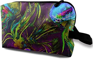 JELLYFISH DANCE FREEDOM WATERCOLOR GLOW IN THE DARK Effect Travel Makeup Cute Cosmetic Case Organizer Portable Storage Bag for Women