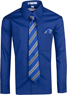 Boys Long Sleeve Button Up Dress Shirt with Necktie and Pocket Square