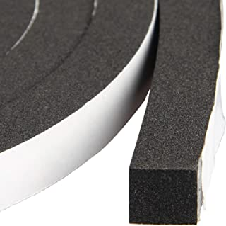 Window Insulation Weather Stripping 1/2 Inch Wide X 1/2 Inch Thick, Closed Cell Foam Tape Adhesive Rubber Seal Strip, Total 13 Feet Long (2 Rolls of 6.5 Ft Long Each)