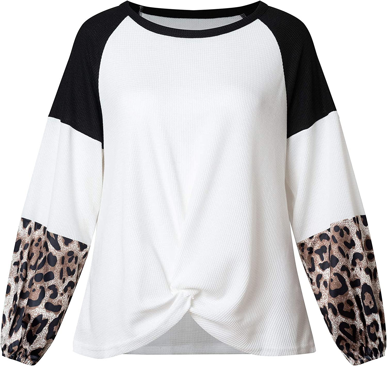 DUYOHC Womens Color Block Casual Tunic Tops Leopard Long Sleeve Waffle Knit Blouse with Twist Knot Loose Shirts L Large Black