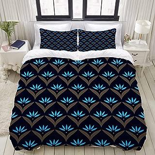 KIMDFACE Duvet Cover Set, Japan Wave Pattern Original Floral Motif, Decorative 3 Piece Bedding Set with 2 Pillow Shams