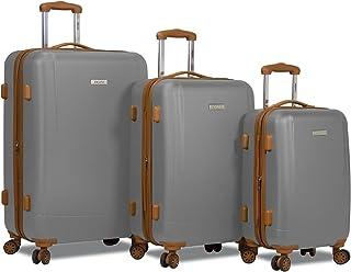 Dejuno Legion New Generation 3-pc Hardside Spinner TSA Combination Lock Luggage Set, Silver, 3-Piece