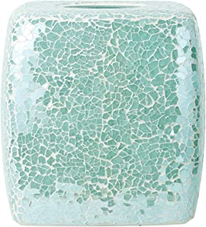 Whole Housewares Mosaic Glass Tissue Holder Decorative Tissue Cover Square Box (Turquoise)