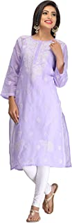 ADA Hand Embroidered Casual Fancy Mauve Cotton Kurti with Elegant Chikan Stitches A133617