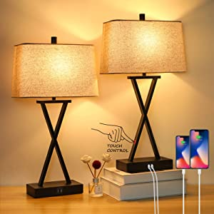 Set of 2 Touch Control 3-Way Dimmable Table Lamp Modern Nightstand Lamp with 2 USB Port Bedside Desk Lamp with Fabric Shade for Living Room Bedroom Hotel, Cream, Bulbs Included