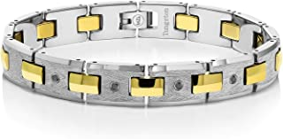 Men's Black Diamond Tungsten Bracelet with Gold Plated Connector Links