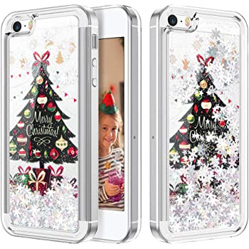 Amazon Com For Iphone 5 5s Se Pc Case Christmas Series Pattern Glitter Liquid Floating Moving Clear Pc Case Hard With Christmas Tree Santa Claus For Christmas Pink