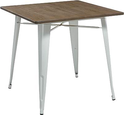 Thc Living Metal Dining Table Bamboo Real Wood Top Industrial Look Matt White 80 X 80 Cm Bistro Table Amazon De Kuche Haushalt