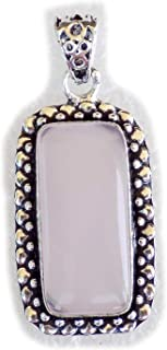 Rose Quartz Pendant, Silver Plated Brass Pendant, Handmade Pendant, Gift Jewelry, Women Jewellry, Fashion Jewellry, BRS-12376