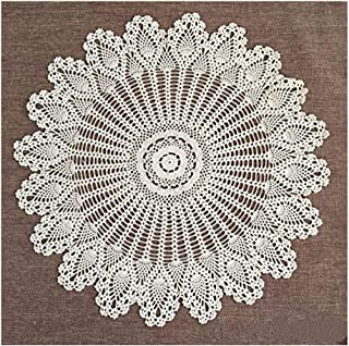 FADFAY Handmade Crochet Doilies Round Tablecloths Cotton Hollow Decorative Beige Table Cover 33.4