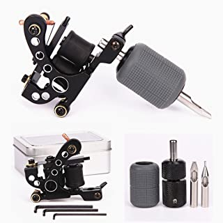 Tattoo Coil Machine 10 Wraps Coils Black Tattoo Machine Selflock Tattoo Grip 25mm Silicone Grips Cover 28mm Tattooing Tips 5F 5R Tattoo Kit for Liner Shader 2 Styles (Liner Kit)