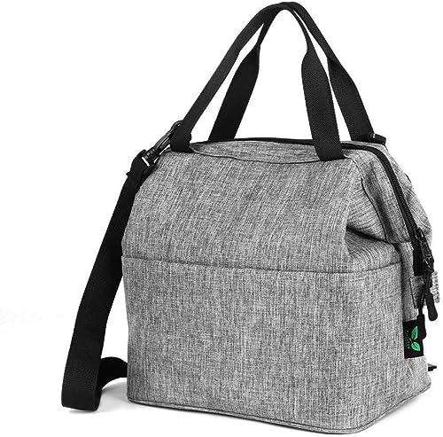 F40C4TMP Isolierte Lunch-Tasche, Kühltasche, mit YKK-Rei rschluss, extra Tasche, Schultergurt, für Mahlzeiten, Prep, Herren, Damen, Kinder, Erwachsene, 9 Dosen (N24) grau