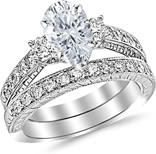 1.46 Carat Three Stone Vintage with Milgrain & Filigree Bridal Set with Wedding Band & Pear Shape Diamond Engagement Ring (I Color SI1 Clarity Center Stones)