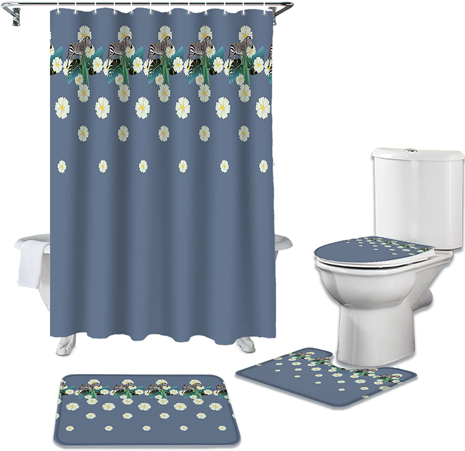 ARTSHOWING Tropical Outlet SALE Animals Ranking TOP18 4 Pcs with Curtain Non-Sl Shower Set