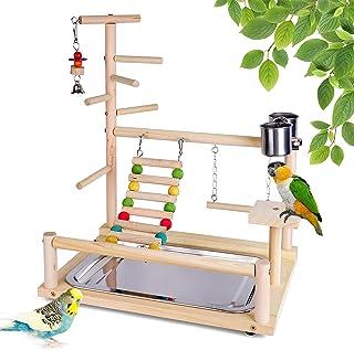 Roseflower Aire de Jeux pour Oiseaux, Support de Jeu pour Oiseaux en Bois Gymnase pour Oiseaux Accessoires pour Oiseaux po...