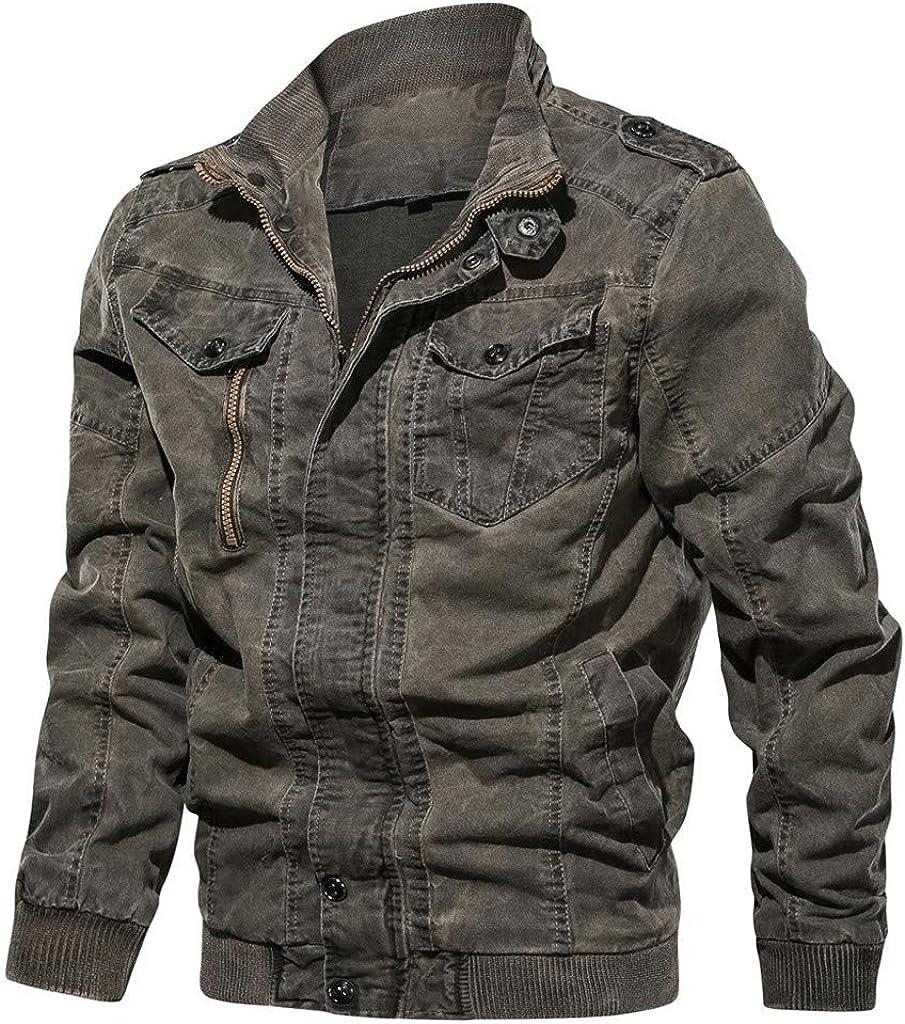 Men's Denim Trucker Jacket Cotton Lightweight Multi Pockets Zip Military Jackets Breathable Coat with Shoulder Straps