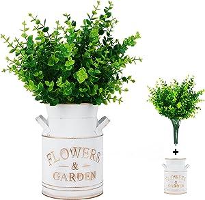 CqgnoRim Metal Flower Vase With Artificial Eucalyptus Leaves,Fake Plants In Decorative Rustic Metal Gold Vase,Country Decorative Flower Holder Planters Flowers for Farmhouse Home,Bedroom,Kitchen Decor