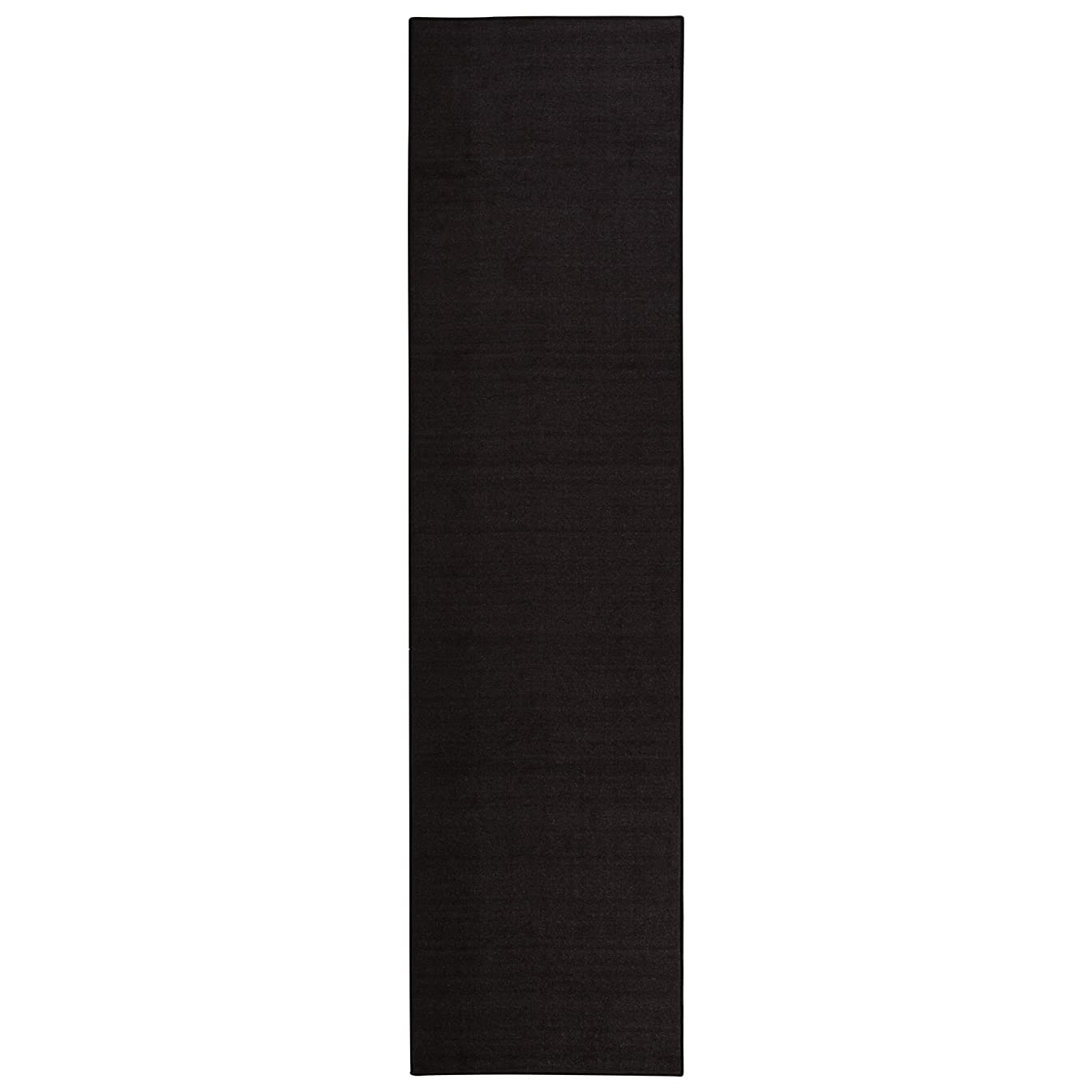 Sweet Home Stores Clifton Collection Solid Design Rubberback Runner Rug, Black