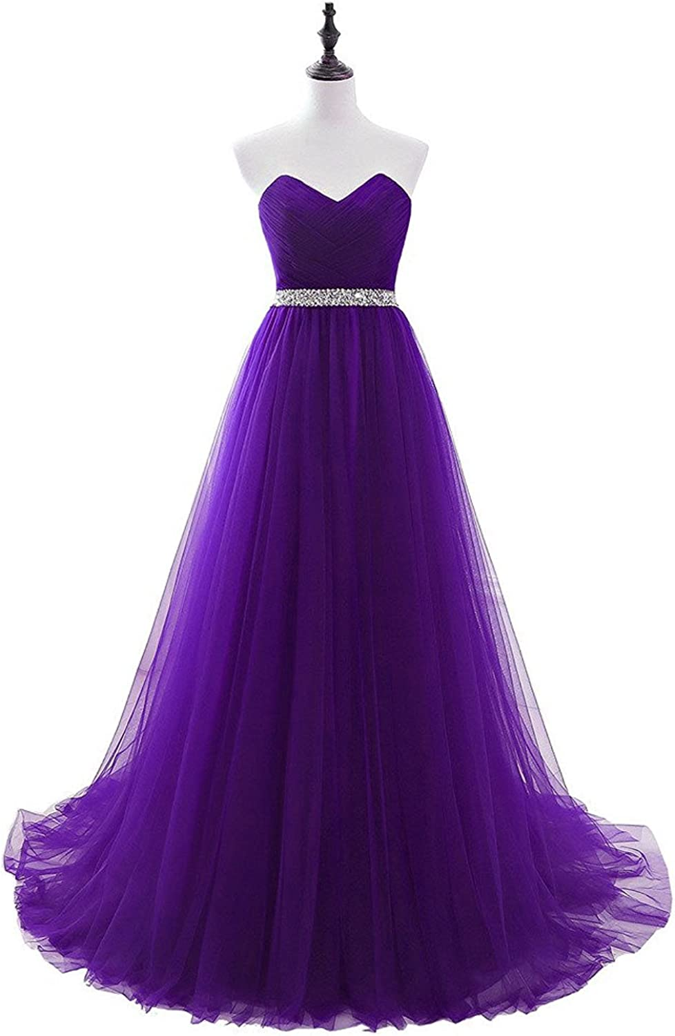 Uther Long Evening Dresses Tulle Bridesmaid Prom Dress Aline Party Gowns with Beads Belt