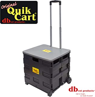 dbest products Quik Cart two wheeled collapsible handcart with grey lid rolling utility..