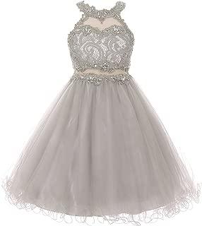 CrunchyCucumber Halter Neck Rhinestone Lace Illusion Keyhole Wired Tulle Girls Dresses