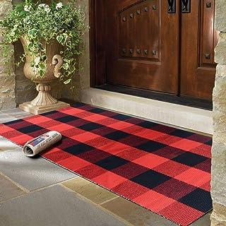 PENCK Plaid Rug Area RugIndoor Outdoor, Cotton Hand-Woven Buffalo Check Doormat, Washable Floor Porch Carpet for Kitchen ...