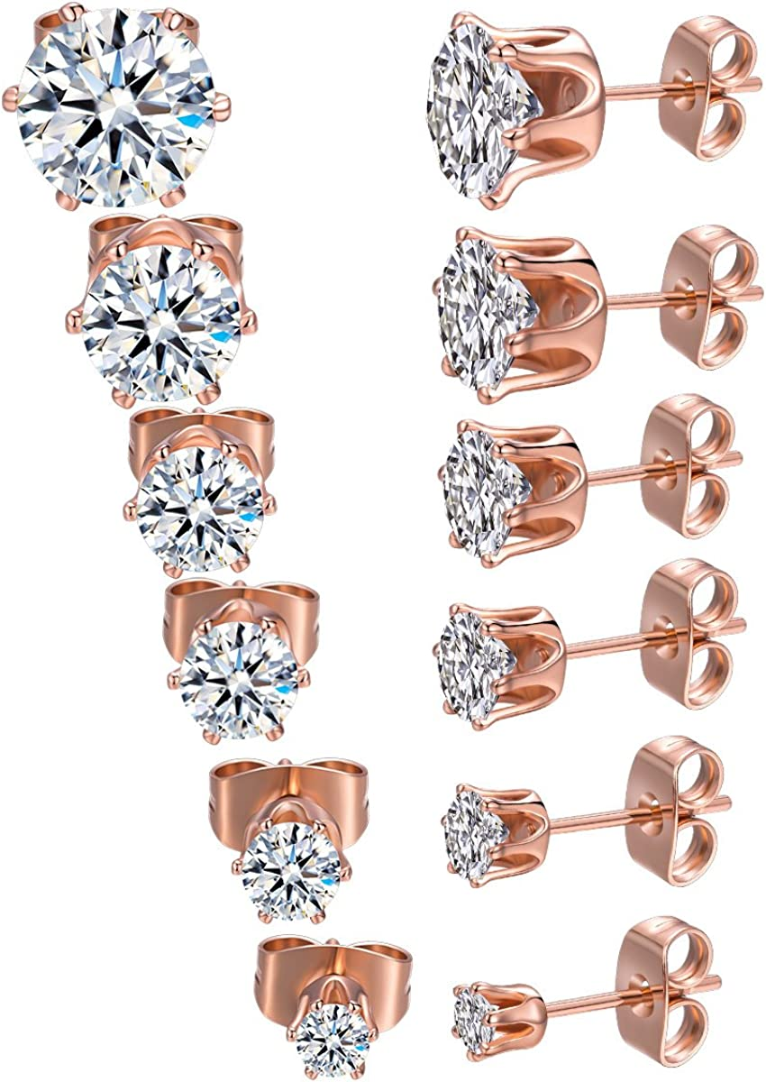 MDFUN 18K White Gold Plated Round Ranking TOP16 Cubic Zirconia Clear Free shipping / New Stud Earr