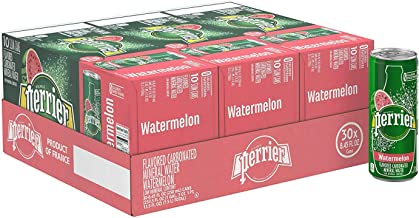 Perrier Watermelon Flavored Carbonated Mineral Water, 8.45 Fl Oz (30 Pack) Slim Cans