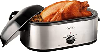 18 Quart Electric Roaster Oven, Roaster Oven, Turkey Roaster Electric, Roaster Oven Buffet, Selfbasting Lid, Removable Pan, Full-Range Temperature Control Cool-Touch Handles, Silver Body, Black Lid