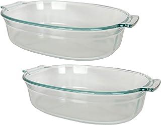 Pyrex 702 2.5 Quart Roaster Glass Dish - 2 Pack